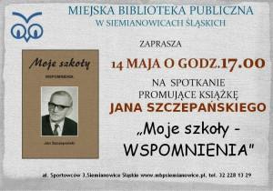 Plakat spotkanie promujące książkę J