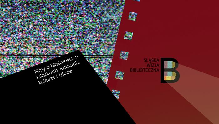 Grafika (szum telewizyjny, taśma filmowa, logo Śląskiej Wizji Bibliotecznej)