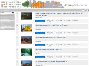Zrzut ekranu ze strony konkursowej