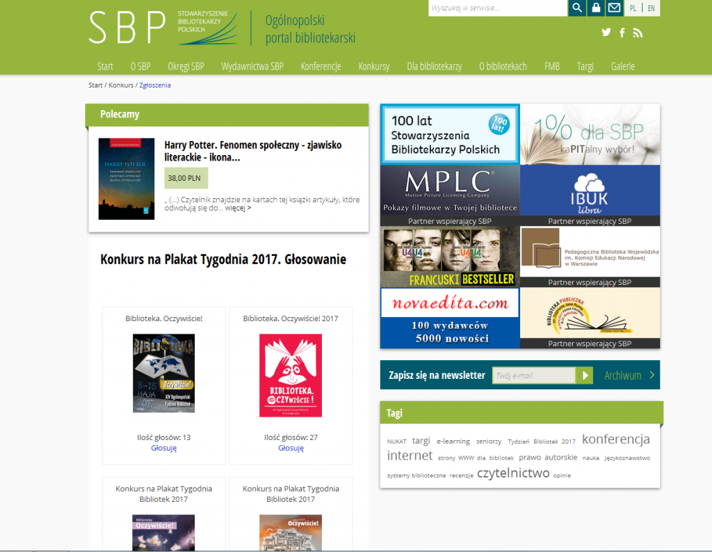 Zrzut ekranu z www SBP