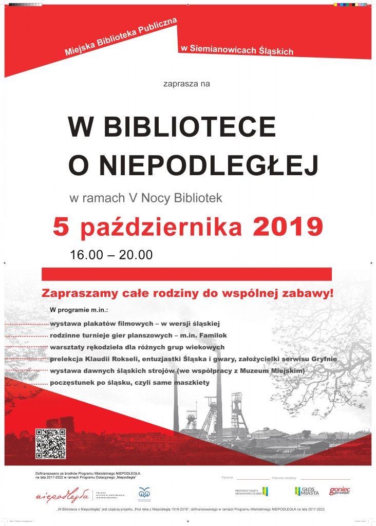 Plakat Noc Bibliotek w Siemianowicach Śląskich